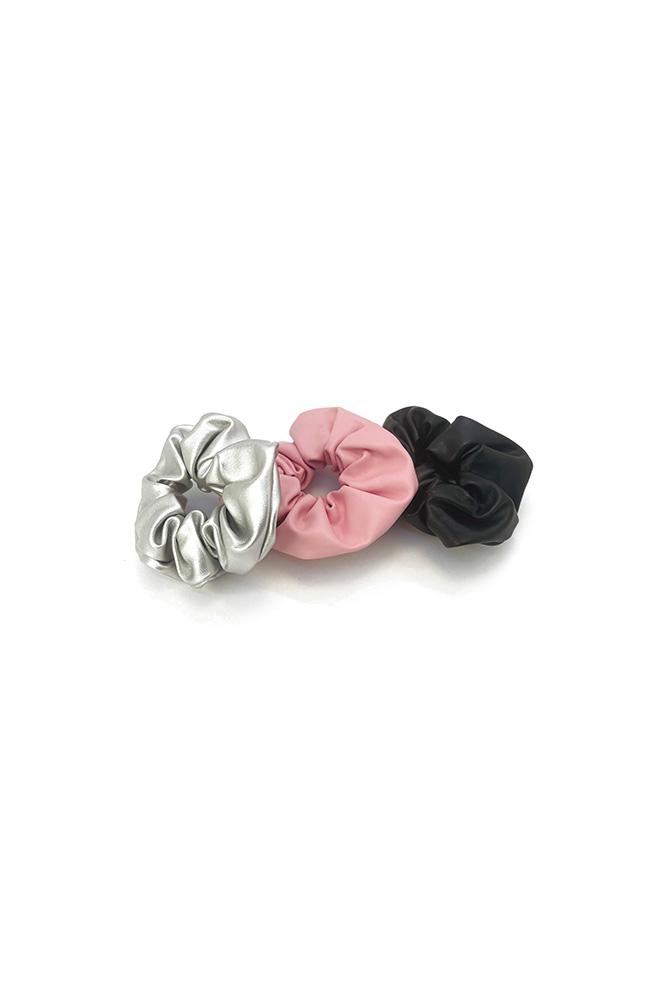 Nep leren scrunchies roze grijs en zwart