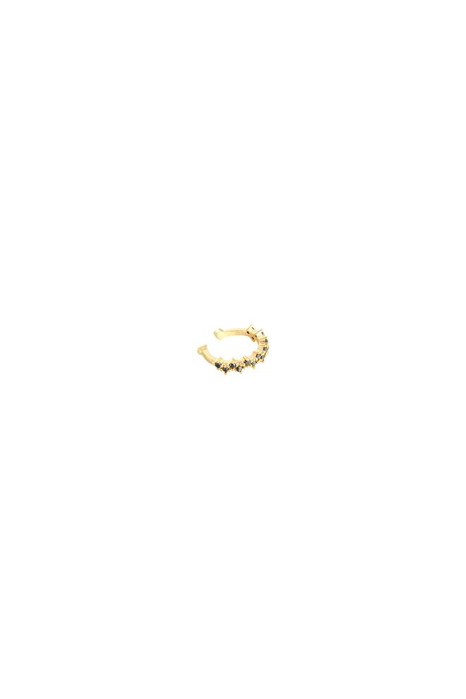 Ear cuff goud met zwarte zirkonia stenen
