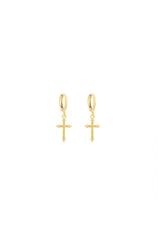 Gouden hanger oorbel met kruisje