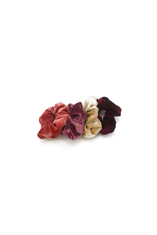 Velours scrunchie set beige rood 4 stuks