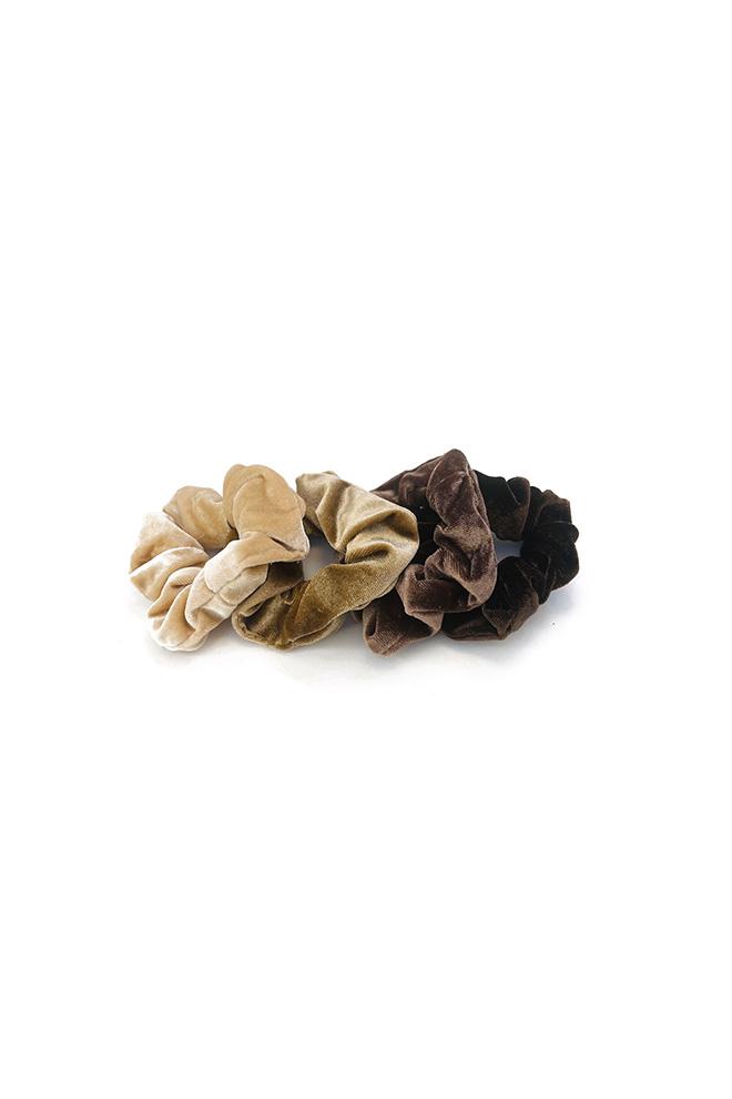 Velours scrunchie set beige bruin 4 stuks