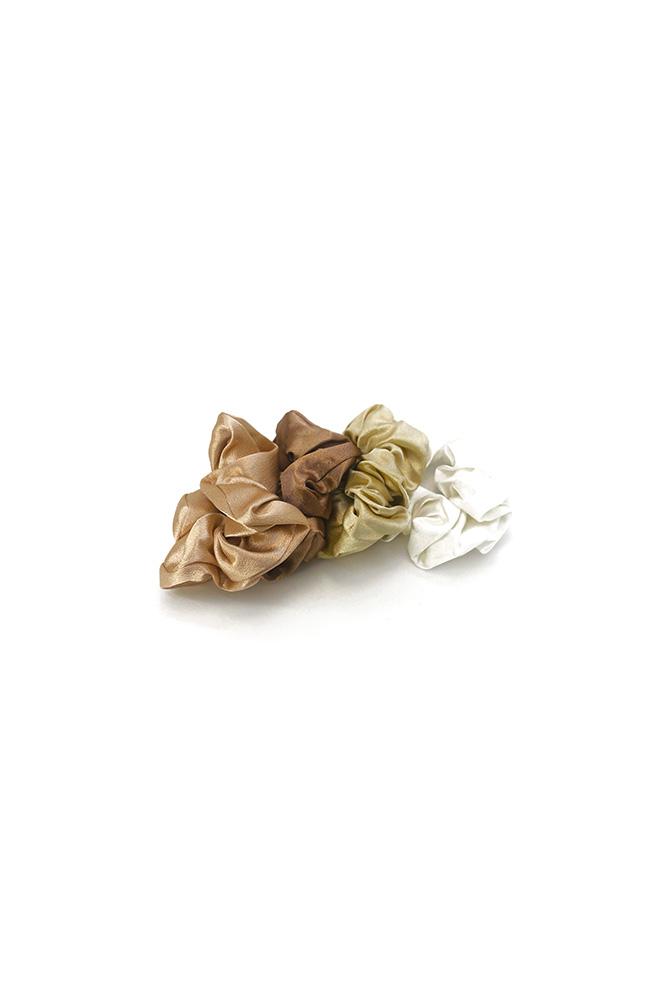 Satijnen scrunchies wit beige