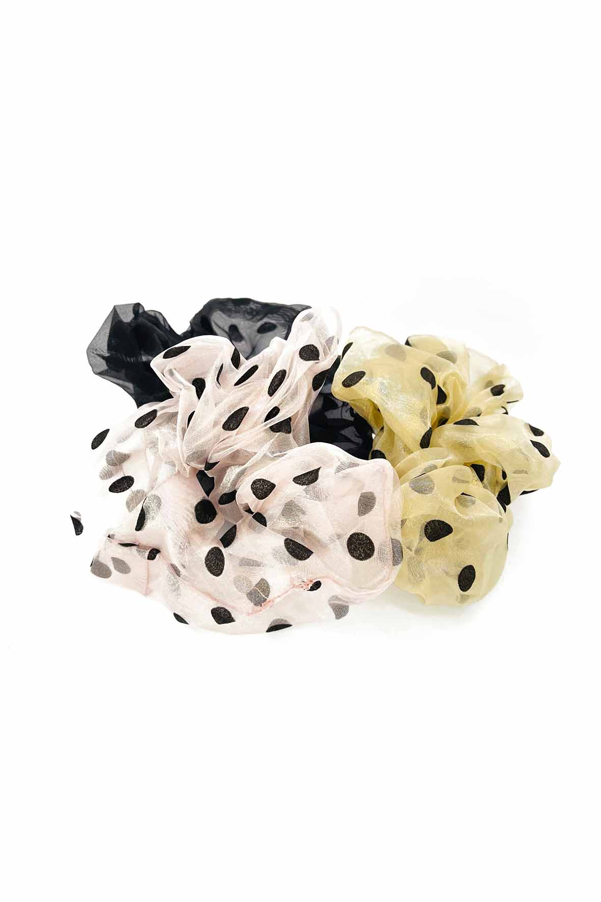 Organza XL polka dot scrunchies zwart roze beige 3 stuks
