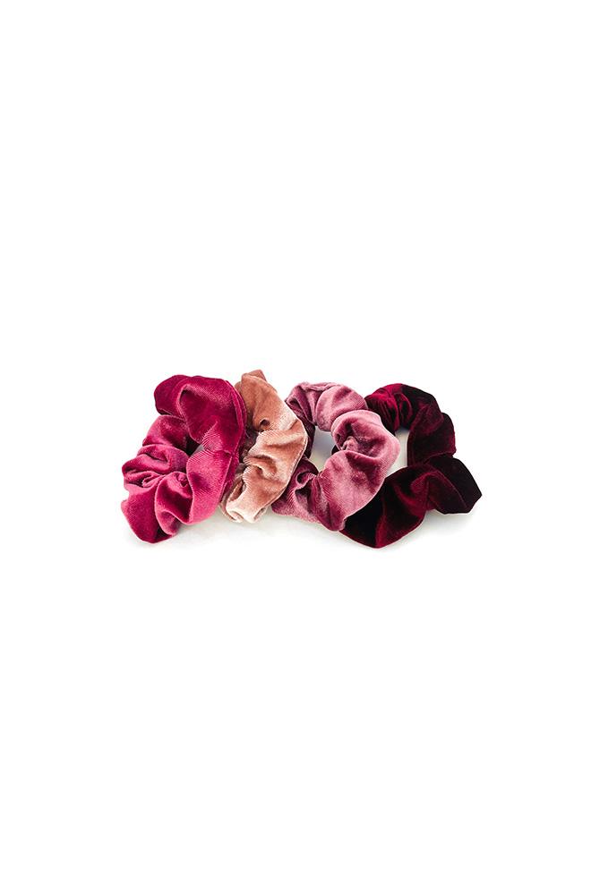 Roze velours scrunchie set 4
