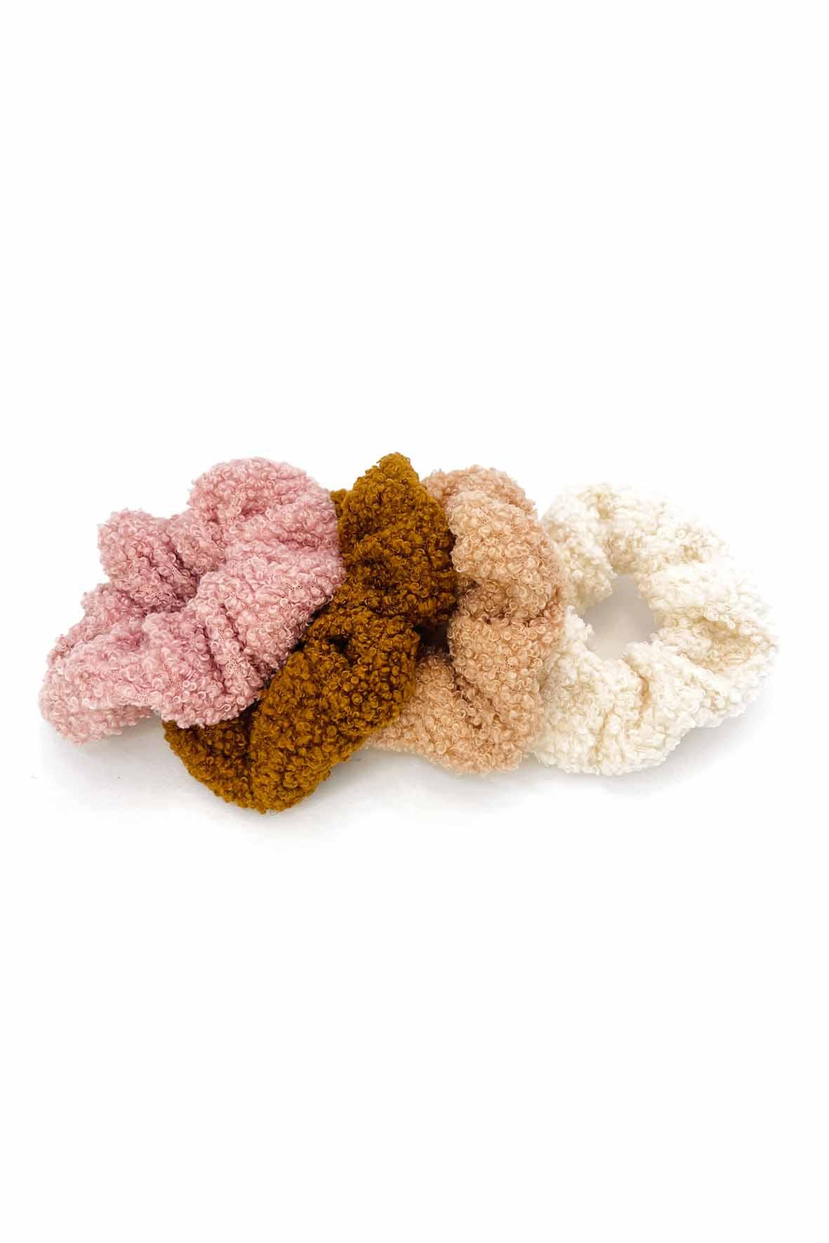 Teddy stof scrunchies bruin wit roze set 4