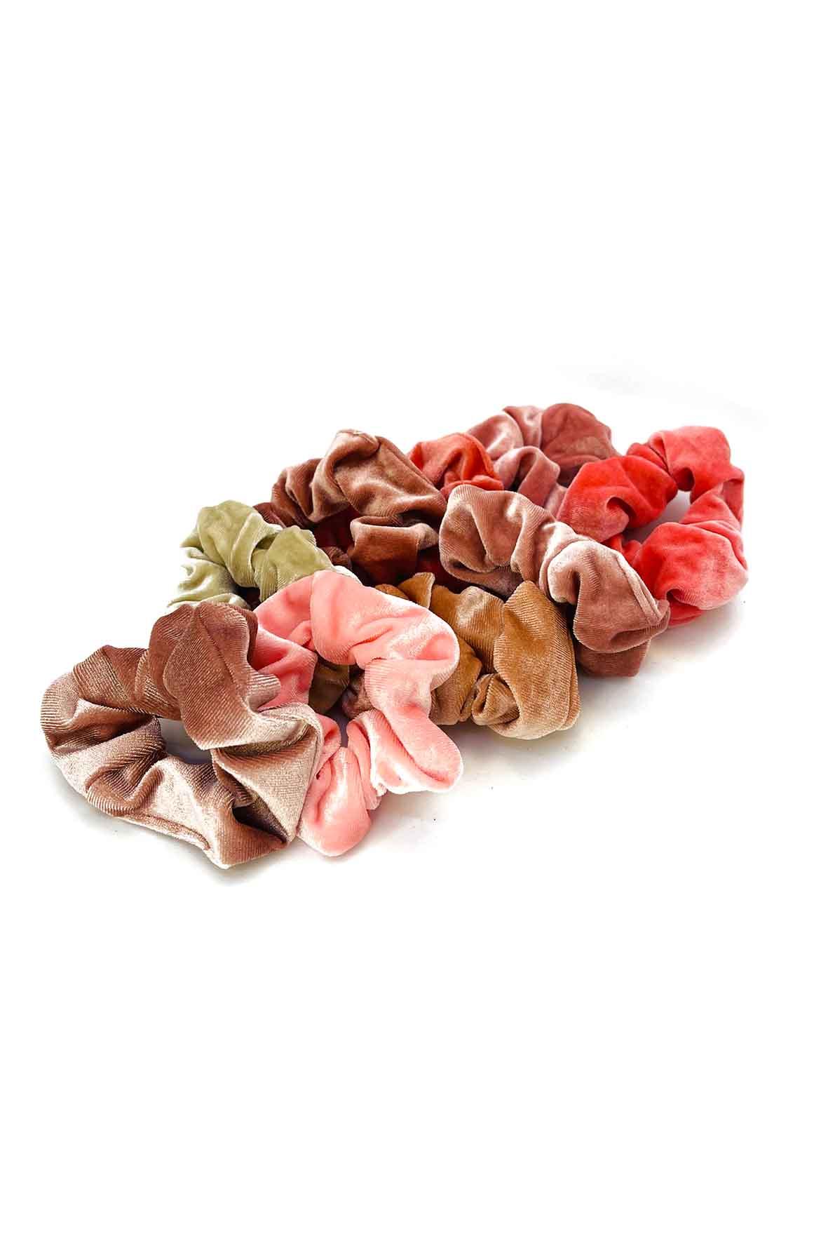 Velours scrunchie set roze beige 9 stuks