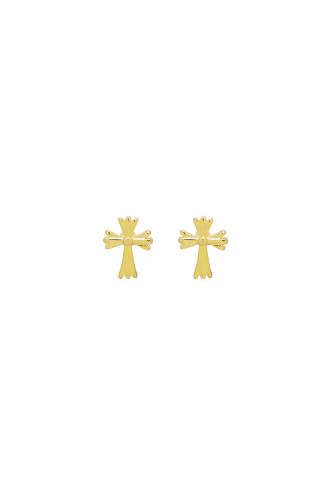 Kruis knopjes oorbel goud
