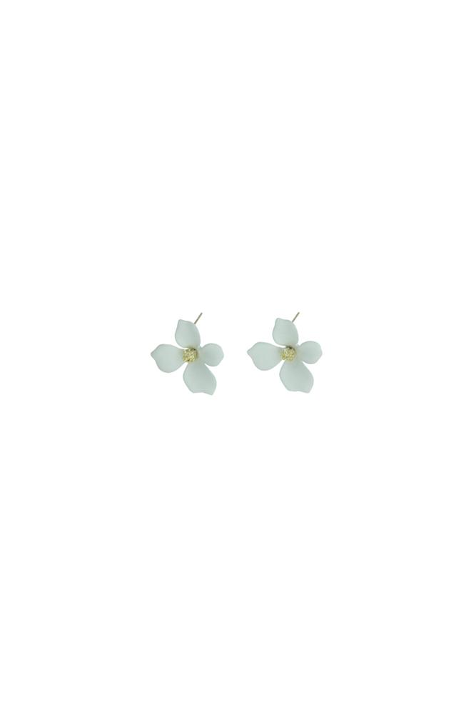 Witte bloem oorbel knopjes