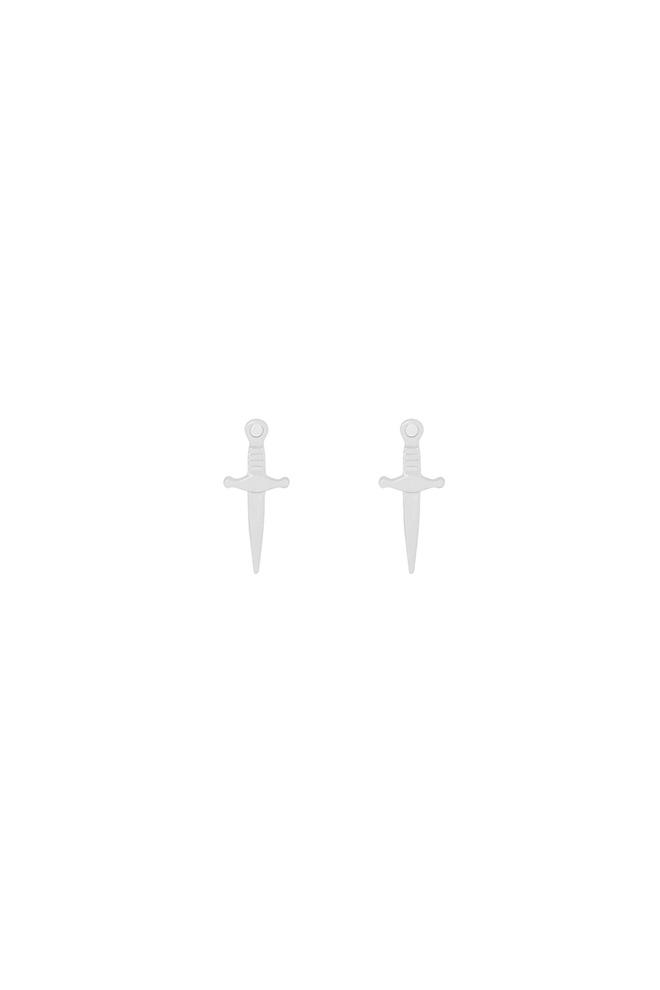 Zilveren zwaard studs oorbellen